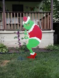 grinch creeping grinch stealing lights outdoor wood yard