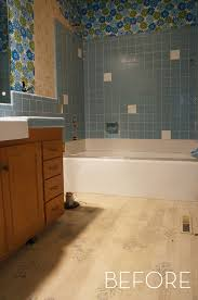 bathroom tile ideas on a budget before and after refinished tile bathroom makeover curbly