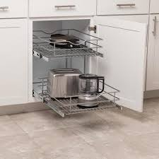 kitchen cabinet storage solutions lowes simply put 17 5 in w x 14 6875 in h 2 tier pull out metal soft baskets organizers