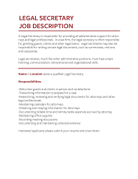 Legal Secretary Job Description For Resume by Job Description Templates The Definitive Guide