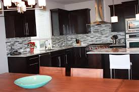 Black Granite Kitchen Table by L Shaped Cabinetry With Black Granite Countertop With Grey Mosaic