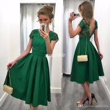 sale green short cocktail party dresses tea length a line with