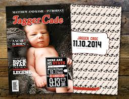 rock magazine theme birth announcement baby boy rockstar