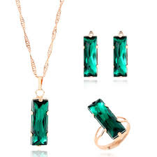 necklace charm ring images New women jewelry set gold color lovely charm green gem rectangle jpg