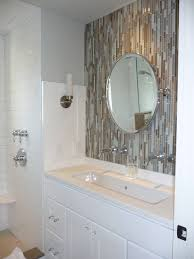 Bathroom Sink Backsplash Ideas Bathroom Excellent Mirrored Tile Backsplash With Round Wall