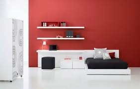 Red White And Black Bedroom - interesting teen bedroom design with red wall color white desk