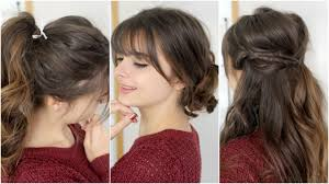 hairstyles with fringe bangs cute easy hairstyles with bangs tutorial youtube
