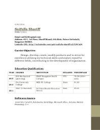 Resume Linkedin Url Saifulla Shariff 6th Sem Resume