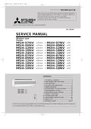 mitsubishi electric mitsubishi electric msh 07nv user manual 80 pages also for