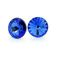 royal blue earrings big sterling silver stud earrings for women royal blue colour made