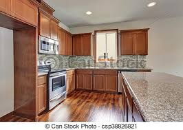 modern kitchen with brown cabinets modern kitchen room with brown cabinets granite counter tops and hardwood floor