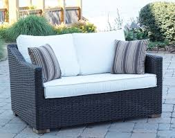 Black Wicker Patio Furniture - outdoor modern black wicker patio loveseat with white solid
