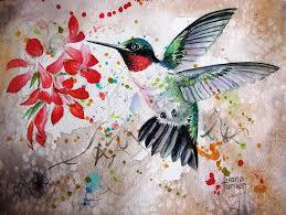Hummingbird Flight Painting by Diana Turner