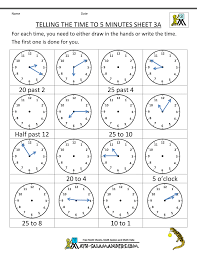 Roman Numerals Worksheet Telling Time Clock Worksheets To 5 Minutes