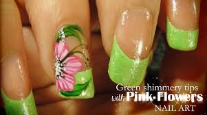 green shimmery tips u0026 pink flowers nail art youtube