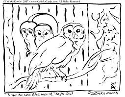 owl coloring pages by catinka knoth
