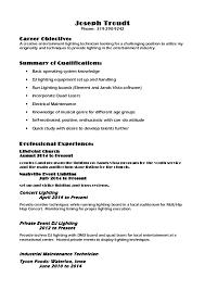 lighting resume