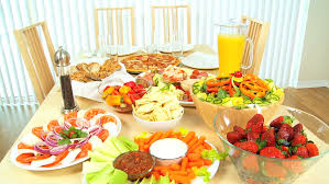 Dining Table With Food Modern Family Dining Table Of Fresh Tasty Food For A Healthy