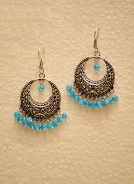 jhumki style earrings buy this silver oxidised jhumki style earrings for women online