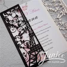 eiffel tower invitations luxurious eiffel tower glitter paper laser cut wedding invitations
