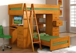 Solid Pine Furniture Natural Honey Finish Solid Pine Contemporary Loft Bed With Desk