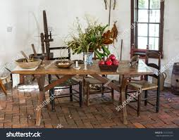 old fashioned colonial kitchen table chairs stock photo 115126072