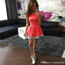 hot dress hot sale summer women sleeve dress volie stitching