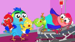 cartoon birds family mom birth babies in the living room bird dad