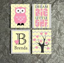 Owl Theme by Nursery Owl Theme Hand Painted Canvas Custom Name Wall Art