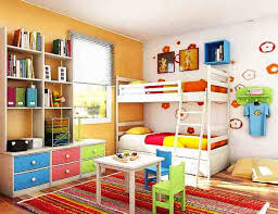 interior design colorful and small stufy room for kids with loft