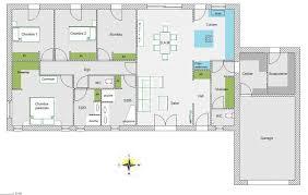 plan 4 chambres plain pied maison rectangle 4 chambres créatif plan maison chambres plain pied