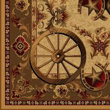 Western Style Area Rugs Buy Western Wagon Wheel 5 X 8 Area Rug Rug Store