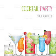 cocktail party card cocktail bar flyer flat style vector