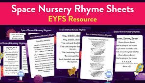 early years space themed nursery rhyme sheets teachwire teaching