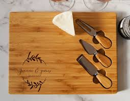 Wedding Gift Set Personalized Cheese Board Set Custom Cheese Board Set Engraved