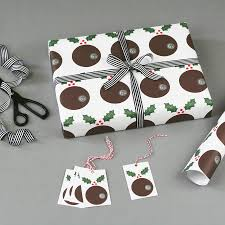 christmas pudding christmas wrapping paper by nancy u0026 betty studio