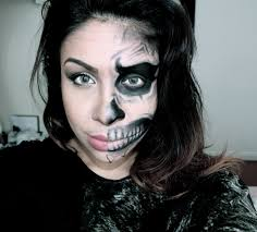 how to half human half skull face halloween makeup tutorial youtube