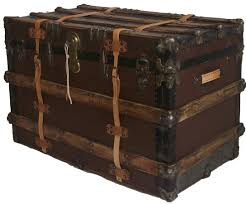 canvas covered antique trunk omero home