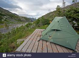 pitched tent over a wooden platform happy camp chilkoot trail