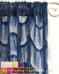 Blue Swag Valance Eyelash Sheer Scarf Swag Window Topper Available In 11 Colors
