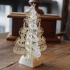 christmas tree gifts 3d laser cut pop up cards handmade decoration