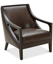 Brown Leather Accent Chair Tianah Leather Accent Chair Created For Macy S Furniture Macy S