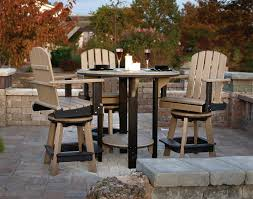 Patio Furniture With Swivel Chairs by Poly Lumber Pub Table W 3 Balcony Swivel Chairs