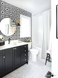 bathroom modern round mirror with diy floral wall art decor and bathroom modern round mirror with diy floral wall art decor and black vanity also using white