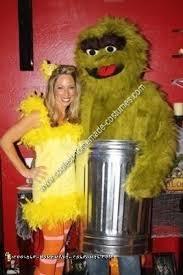 Bird Halloween Costume Coolest Homemade Big Bird Oscar Grouch Couple Halloween