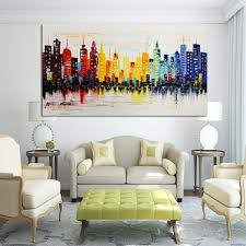 living room canvas 120x60cm modern city canvas abstract painting print living room art