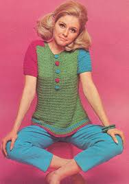 7017 vintage 1970s multi color pullover top knitting pattern