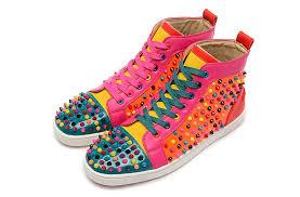 christian louboutin louis flat junior red spikes gray mens sneaker