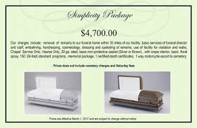 funeral homes prices funeral packages 2017