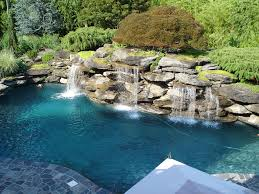 natural swimming pool landscaping with exotic look showing stone